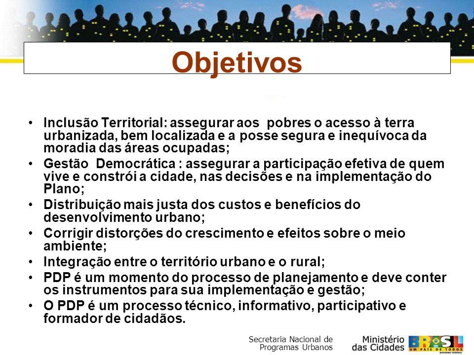 Secretaria Nacional de Programas Urbanos Inclusão Territorial: assegurar aos pobres o acesso à terra urbanizada, bem localizada e a posse segura e ine