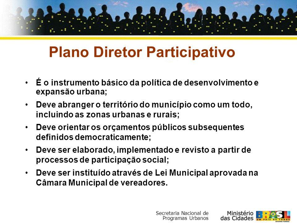Secretaria Nacional de Programas Urbanos Plano Diretor Participativo É o instrumento básico da política de desenvolvimento e expansão urbana; Deve abr
