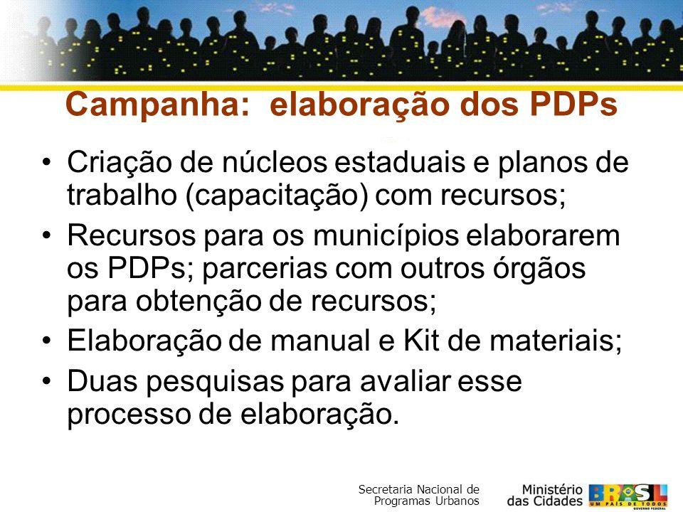 Secretaria Nacional de Programas Urbanos Campanha: elaboração dos PDPs Criação de núcleos estaduais e planos de trabalho (capacitação) com recursos; R