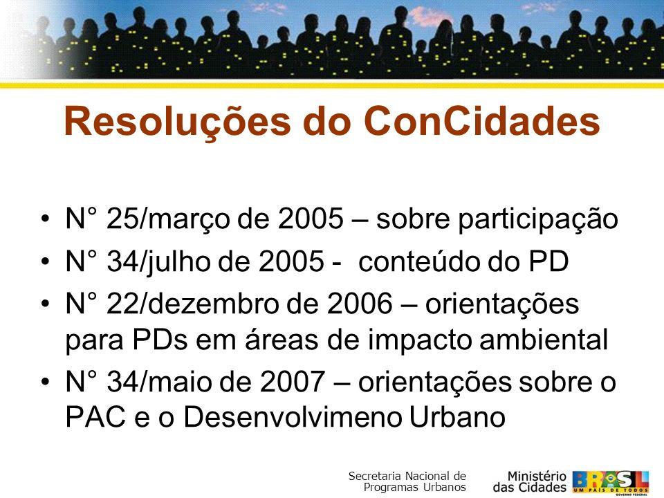 Secretaria Nacional de Programas Urbanos Resoluções do ConCidades N° 25/março de 2005 – sobre participação N° 34/julho de 2005 - conteúdo do PD N° 22/