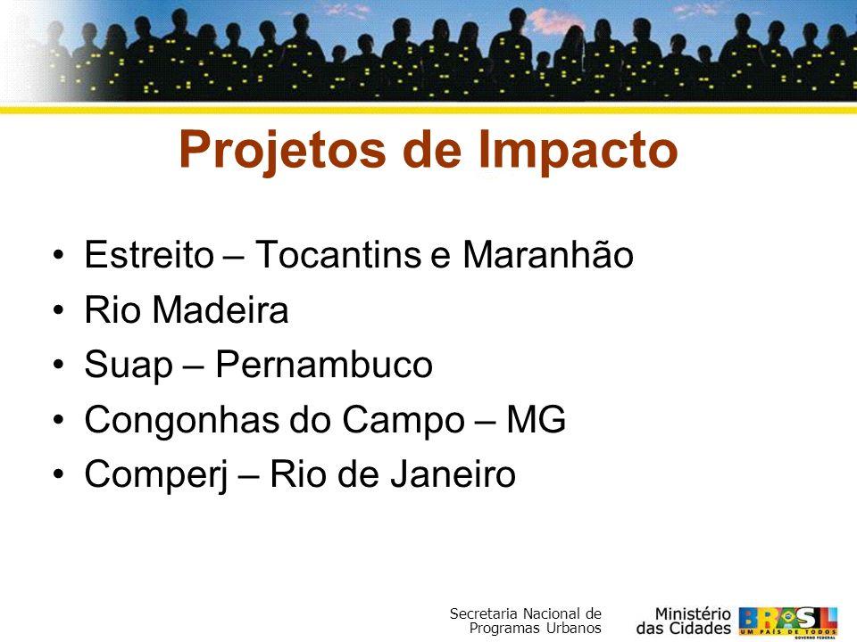 Secretaria Nacional de Programas Urbanos Projetos de Impacto Estreito – Tocantins e Maranhão Rio Madeira Suap – Pernambuco Congonhas do Campo – MG Com