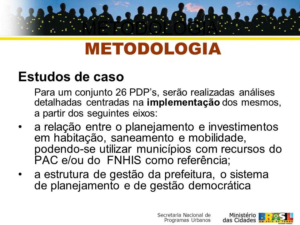 Secretaria Nacional de Programas Urbanos Estudos de caso Para um conjunto 26 PDPs, serão realizadas análises detalhadas centradas na implementação dos
