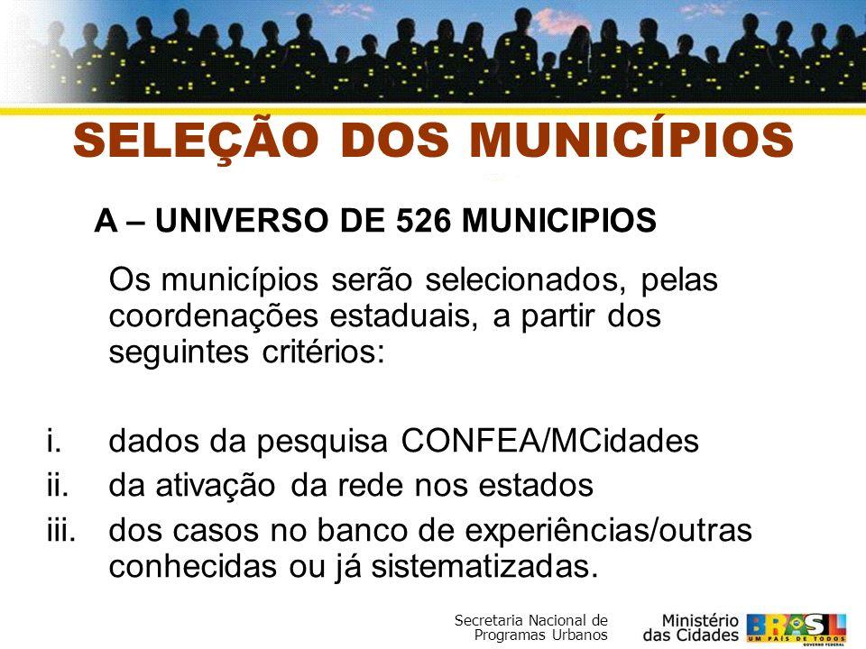 Secretaria Nacional de Programas Urbanos SELEÇÃO DOS MUNICÍPIOS Os municípios serão selecionados, pelas coordenações estaduais, a partir dos seguintes