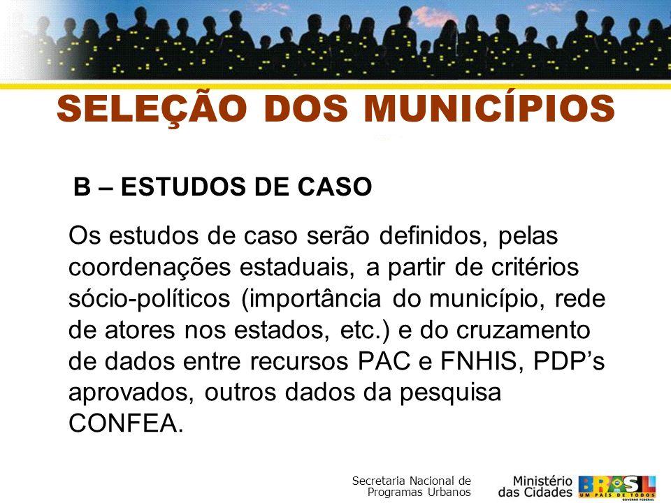Secretaria Nacional de Programas Urbanos Os estudos de caso serão definidos, pelas coordenações estaduais, a partir de critérios sócio-políticos (impo