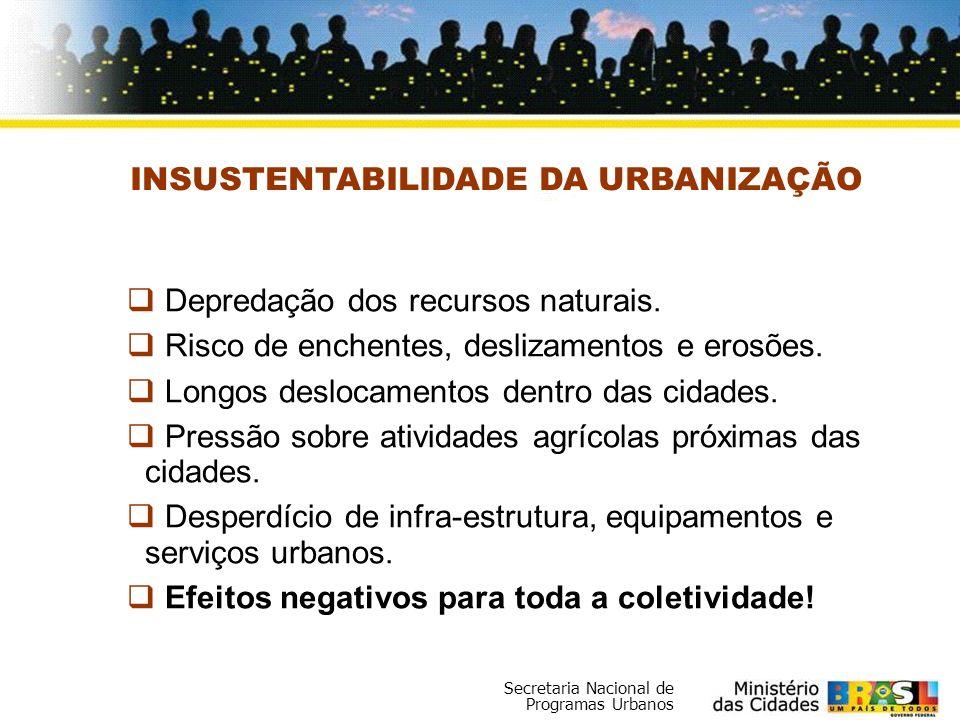 Secretaria Nacional de Programas Urbanos Assentamentos Precários 40,5% dos domicílios urbanos brasileiros, ou 16 milhões de famílias vivem em assentamentos precários; Dos 5563 municípios são raros os que não tem uma parte de sua população vivendo em assentamentos precários; A cidade legal, por sua vez, sofre constantes disputas dos setores imobiliários aumentando o preço da terra e a deteriorização das áreas