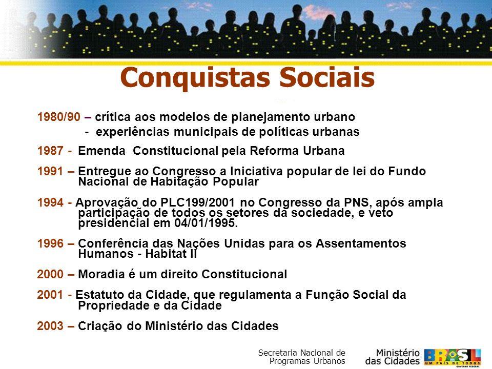 Secretaria Nacional de Programas Urbanos Conquistas Sociais 1980/90 – crítica aos modelos de planejamento urbano - experiências municipais de política