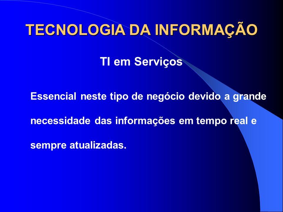 TECNOLOGIA DA INFORMAÇÃO TI em Serviços Essencial neste tipo de negócio devido a grande necessidade das informações em tempo real e sempre atualizadas