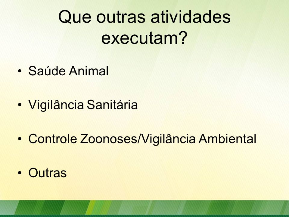 Que outras atividades executam? Saúde Animal Vigilância Sanitária Controle Zoonoses/Vigilância Ambiental Outras