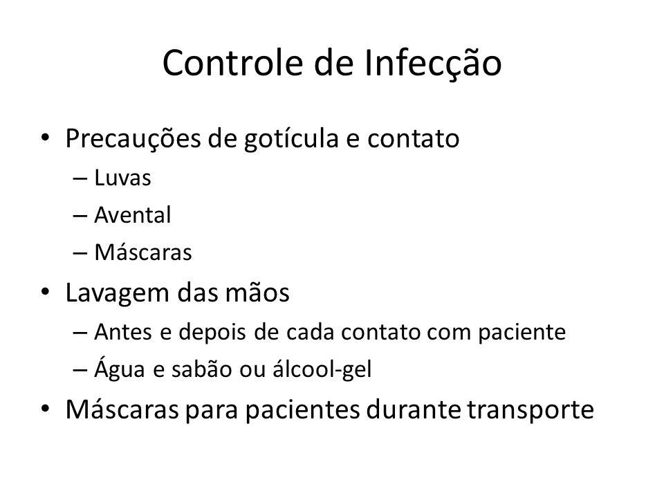 Controle de Infecção Precauções de gotícula e contato – Luvas – Avental – Máscaras Lavagem das mãos – Antes e depois de cada contato com paciente – Ág