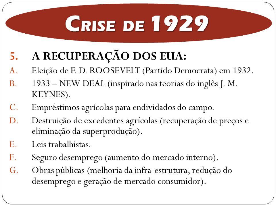 5.A RECUPERAÇÃO DOS EUA: A.Eleição de F. D. ROOSEVELT (Partido Democrata) em 1932. B.1933 – NEW DEAL (inspirado nas teorias do inglês J. M. KEYNES). C
