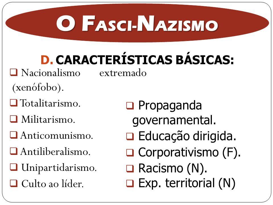 O F ASCI- N AZISMO Nacionalismo extremado (xenófobo). Totalitarismo. Militarismo. Anticomunismo. Antiliberalismo. Unipartidarismo. Culto ao líder. Pro