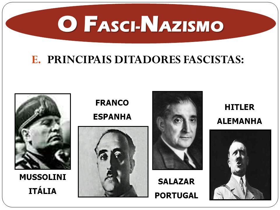 E.PRINCIPAIS DITADORES FASCISTAS: MUSSOLINI ITÁLIA FRANCO ESPANHA SALAZAR PORTUGAL HITLER ALEMANHA O F ASCI- N AZISMO