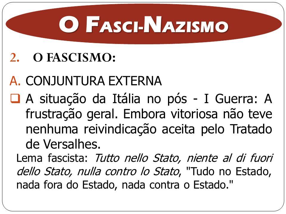 2.O FASCISMO: O F ASCI- N AZISMO A.CONJUNTURA EXTERNA A situação da Itália no pós - I Guerra: A frustração geral. Embora vitoriosa não teve nenhuma re