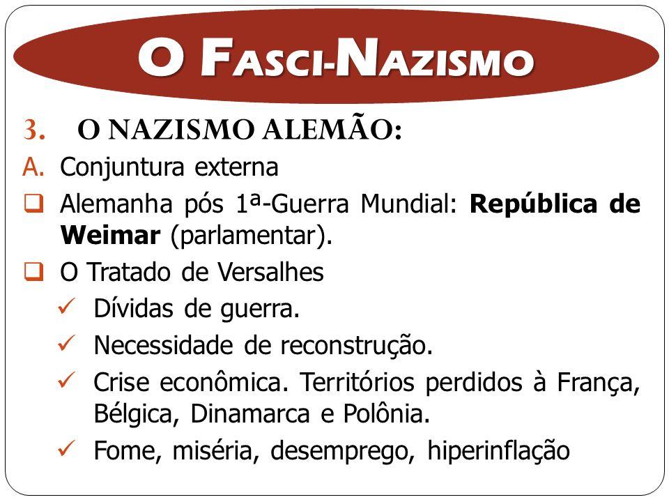 3.O NAZISMO ALEMÃO: O F ASCI- N AZISMO A.Conjuntura externa Alemanha pós 1ª-Guerra Mundial: República de Weimar (parlamentar). O Tratado de Versalhes