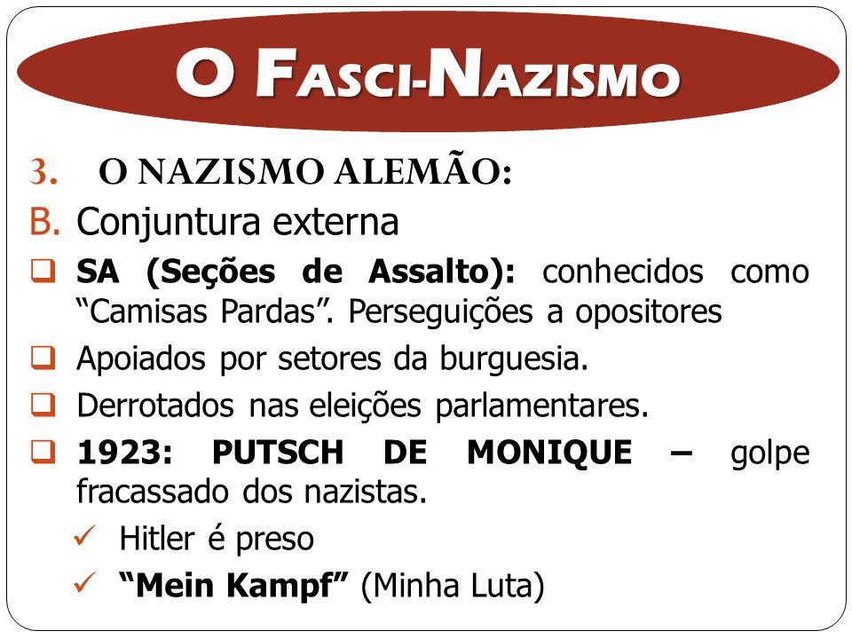 3.O NAZISMO ALEMÃO: O F ASCI- N AZISMO B.Conjuntura externa SA (Seções de Assalto): conhecidos como Camisas Pardas. Perseguições a opositores Apoiados