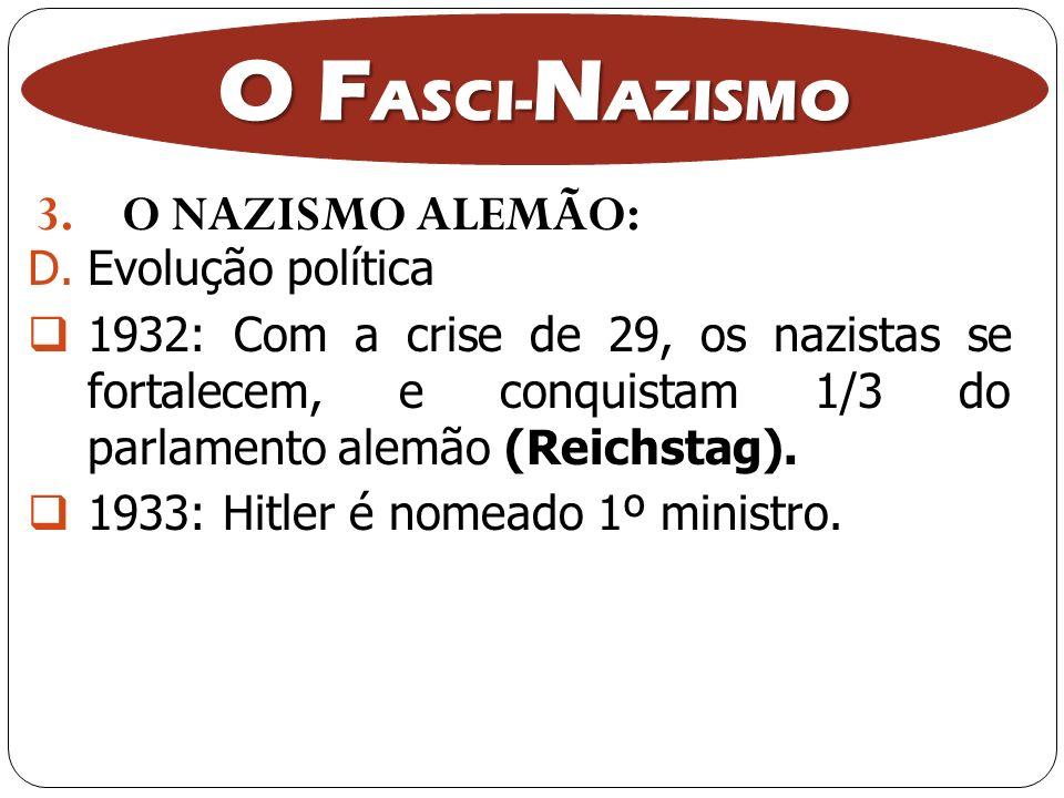 3.O NAZISMO ALEMÃO: O F ASCI- N AZISMO D.Evolução política 1932: Com a crise de 29, os nazistas se fortalecem, e conquistam 1/3 do parlamento alemão (