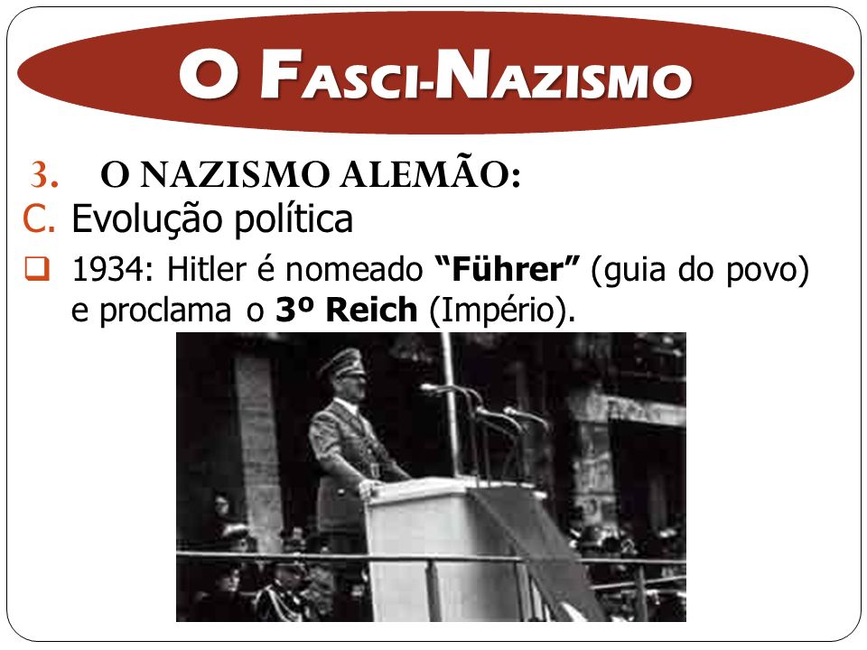 3.O NAZISMO ALEMÃO: O F ASCI- N AZISMO C.Evolução política 1934: Hitler é nomeado Führer (guia do povo) e proclama o 3º Reich (Império).