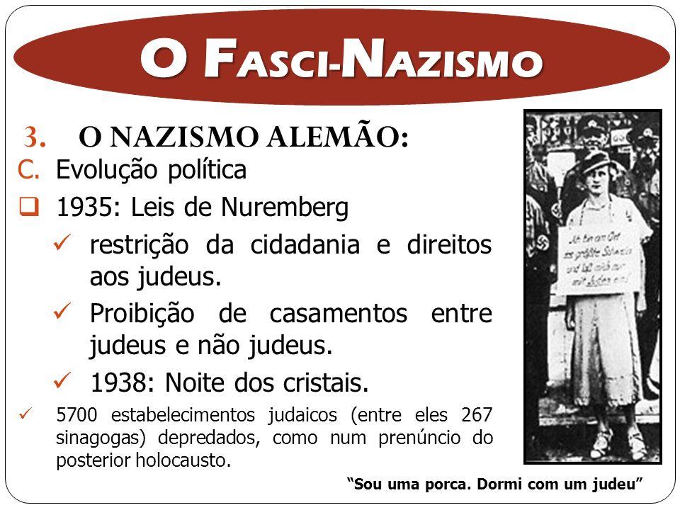 3.O NAZISMO ALEMÃO: O F ASCI- N AZISMO C.Evolução política 1935: Leis de Nuremberg restrição da cidadania e direitos aos judeus. Proibição de casament