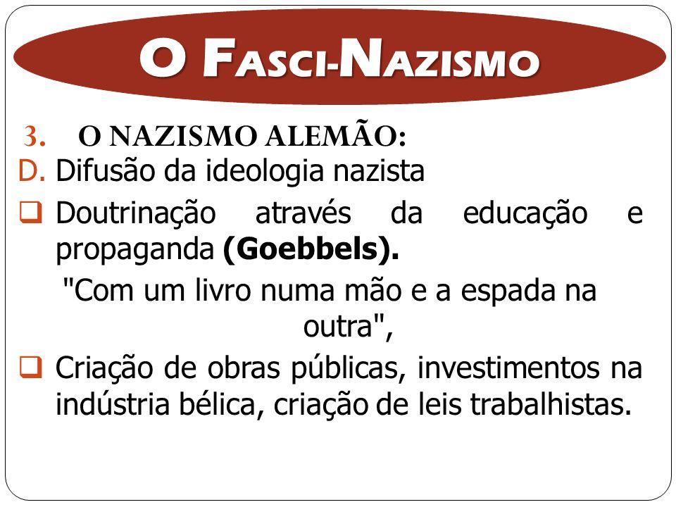 3.O NAZISMO ALEMÃO: O F ASCI- N AZISMO D.Difusão da ideologia nazista Doutrinação através da educação e propaganda (Goebbels).