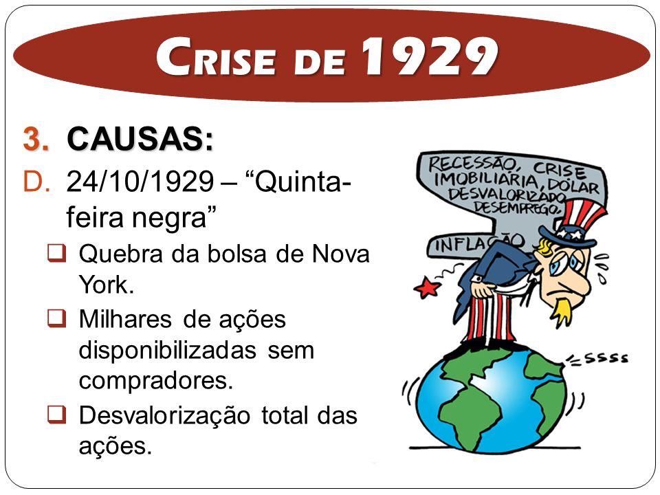 3.CAUSAS: D.24/10/1929 – Quinta- feira negra Quebra da bolsa de Nova York. Milhares de ações disponibilizadas sem compradores. Desvalorização total da