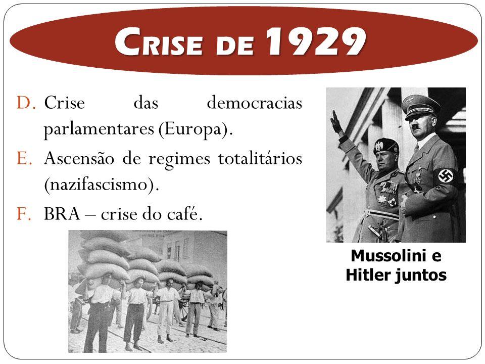D.Crise das democracias parlamentares (Europa). E.Ascensão de regimes totalitários (nazifascismo). F.BRA – crise do café. C RISE DE 1929 Mussolini e H