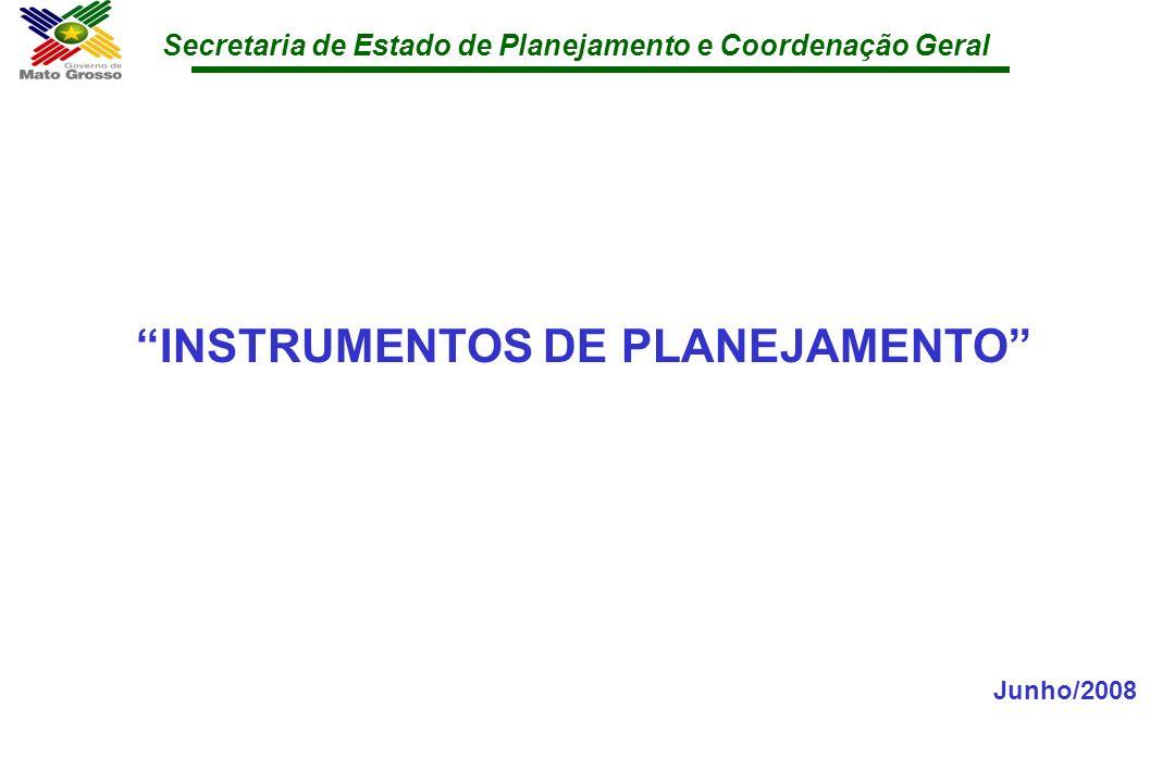 Secretaria de Estado de Planejamento e Coordenação Geral INSTRUMENTOS DE PLANEJAMENTO Junho/2008