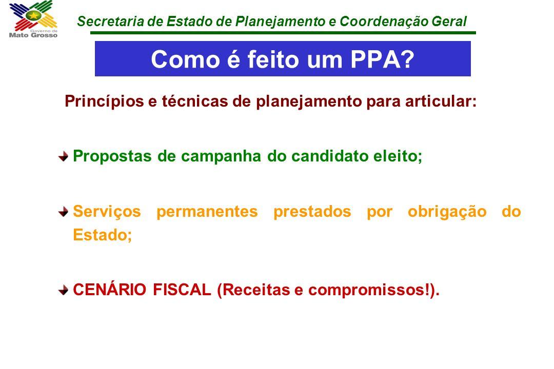 Secretaria de Estado de Planejamento e Coordenação Geral Como é feito um PPA? Princípios e técnicas de planejamento para articular: Propostas de campa
