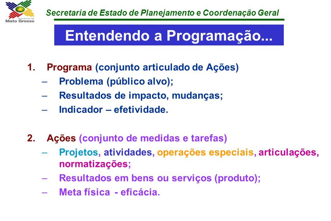 Secretaria de Estado de Planejamento e Coordenação Geral Entendendo a Programação... 1.Programa (conjunto articulado de Ações) –Problema (público alvo