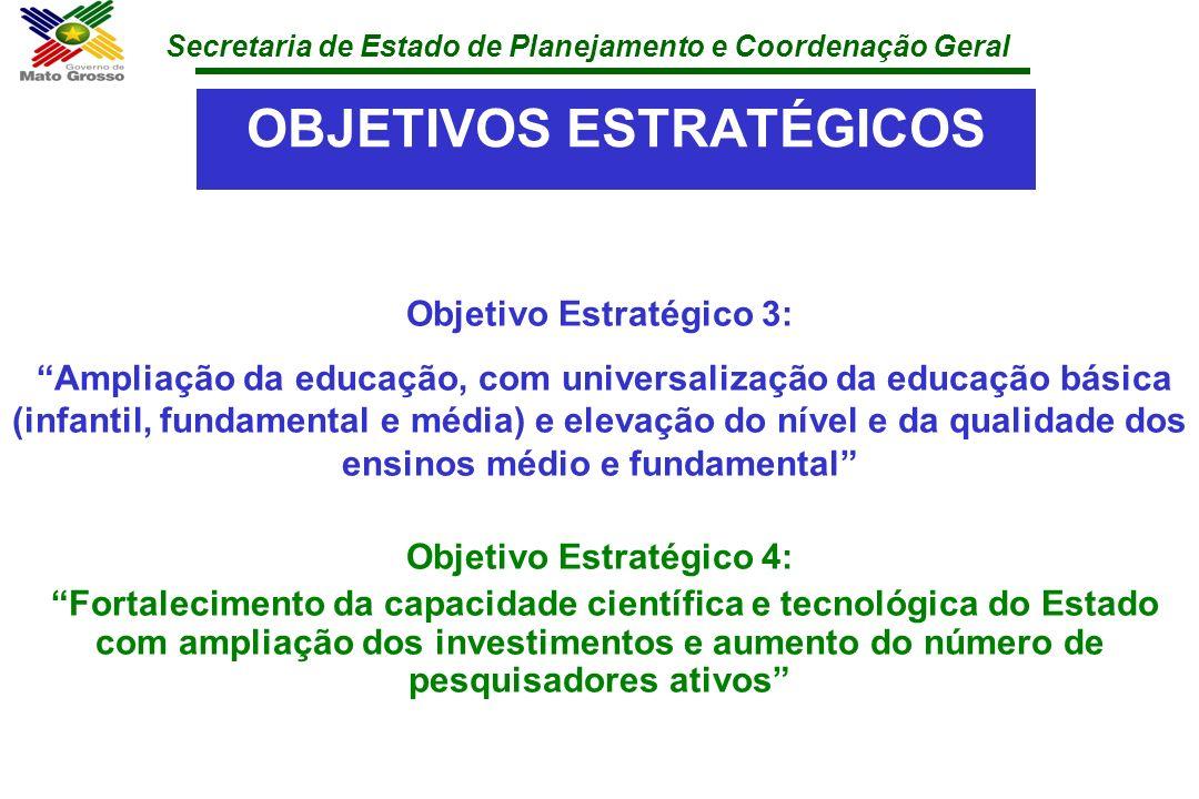 Secretaria de Estado de Planejamento e Coordenação Geral OBJETIVOS ESTRATÉGICOS Objetivo Estratégico 3: Ampliação da educação, com universalização da