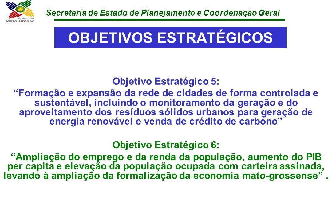 Secretaria de Estado de Planejamento e Coordenação Geral OBJETIVOS ESTRATÉGICOS Objetivo Estratégico 5: Formação e expansão da rede de cidades de form