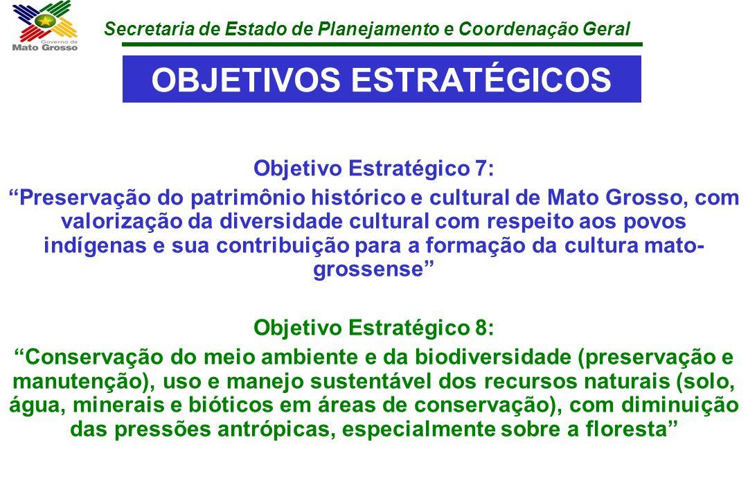 Secretaria de Estado de Planejamento e Coordenação Geral OBJETIVOS ESTRATÉGICOS Objetivo Estratégico 7: Preservação do patrimônio histórico e cultural