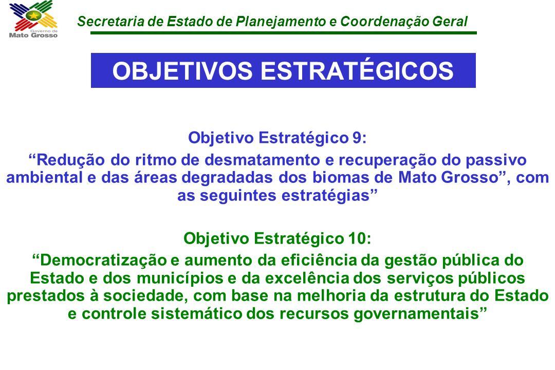 Secretaria de Estado de Planejamento e Coordenação Geral OBJETIVOS ESTRATÉGICOS Objetivo Estratégico 9: Redução do ritmo de desmatamento e recuperação