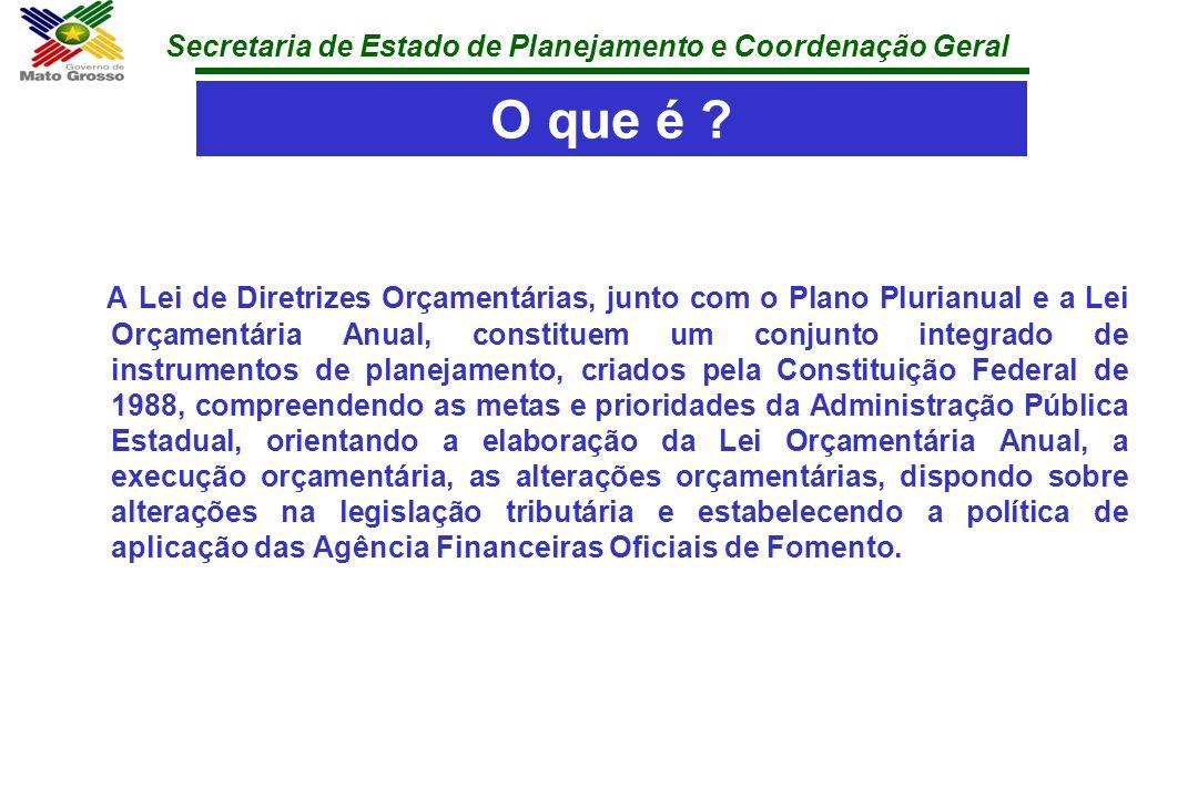 Secretaria de Estado de Planejamento e Coordenação Geral O que é ? A Lei de Diretrizes Orçamentárias, junto com o Plano Plurianual e a Lei Orçamentári