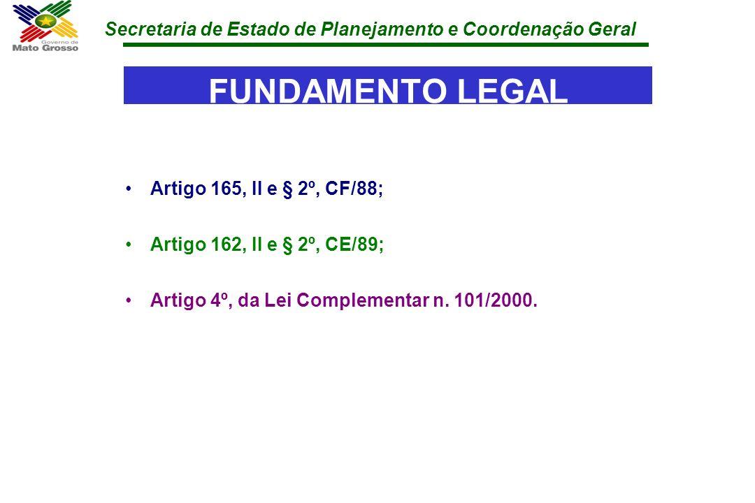 Secretaria de Estado de Planejamento e Coordenação Geral FUNDAMENTO LEGAL Artigo 165, II e § 2º, CF/88; Artigo 162, II e § 2º, CE/89; Artigo 4º, da Le
