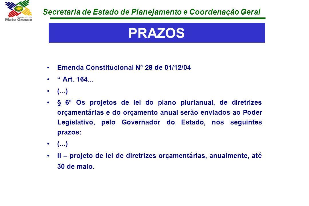 Secretaria de Estado de Planejamento e Coordenação Geral PRAZOS Emenda Constitucional N° 29 de 01/12/04 Art. 164... (...) § 6° Os projetos de lei do p
