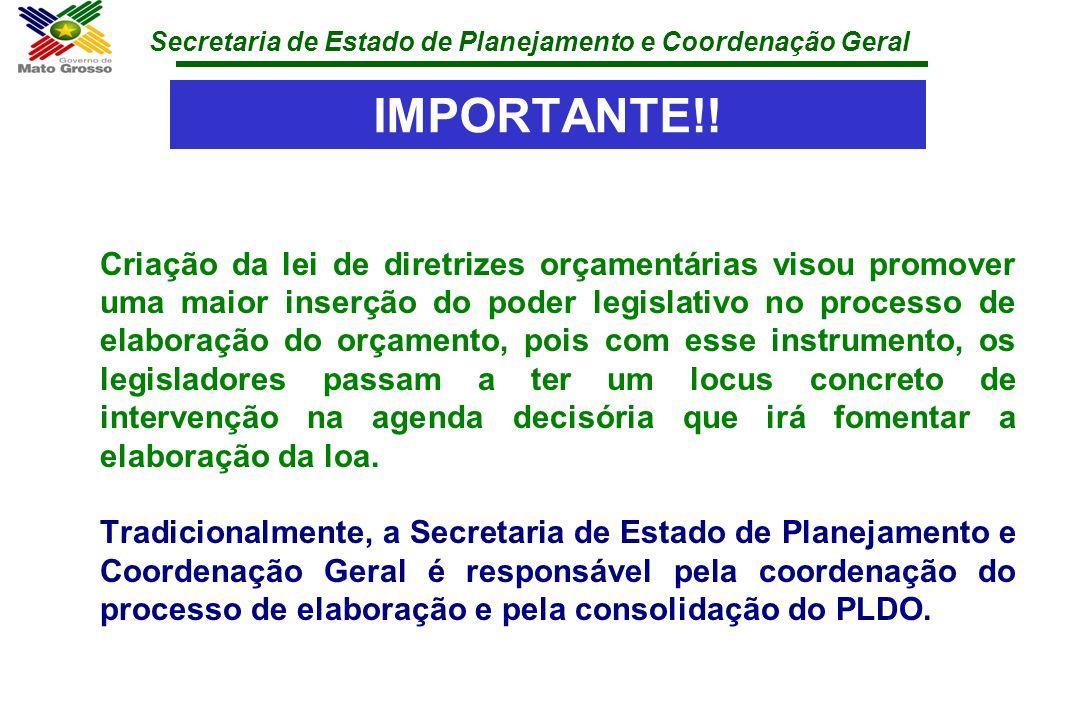 Secretaria de Estado de Planejamento e Coordenação Geral IMPORTANTE!! Criação da lei de diretrizes orçamentárias visou promover uma maior inserção do