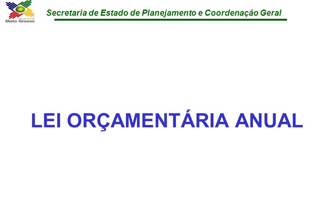 Secretaria de Estado de Planejamento e Coordenação Geral LEI ORÇAMENTÁRIA ANUAL