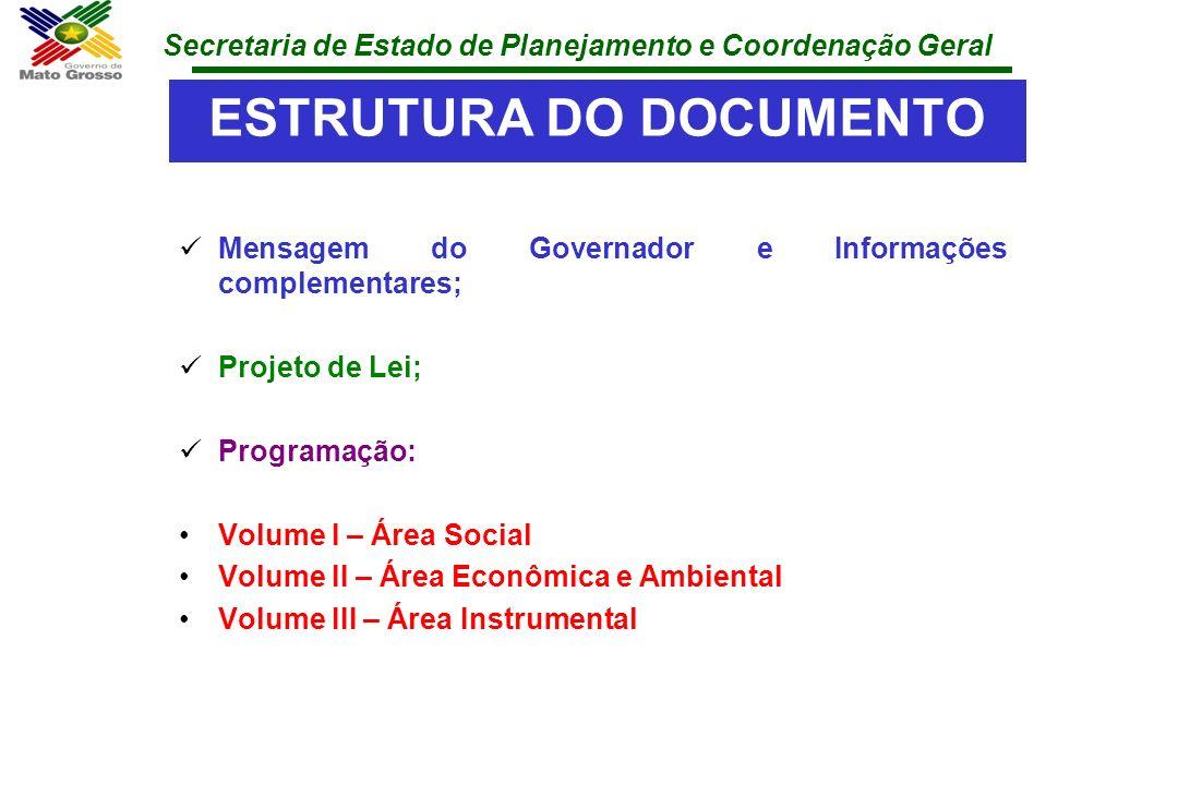 Secretaria de Estado de Planejamento e Coordenação Geral ESTRUTURA DO DOCUMENTO Mensagem do Governador e Informações complementares; Projeto de Lei; P