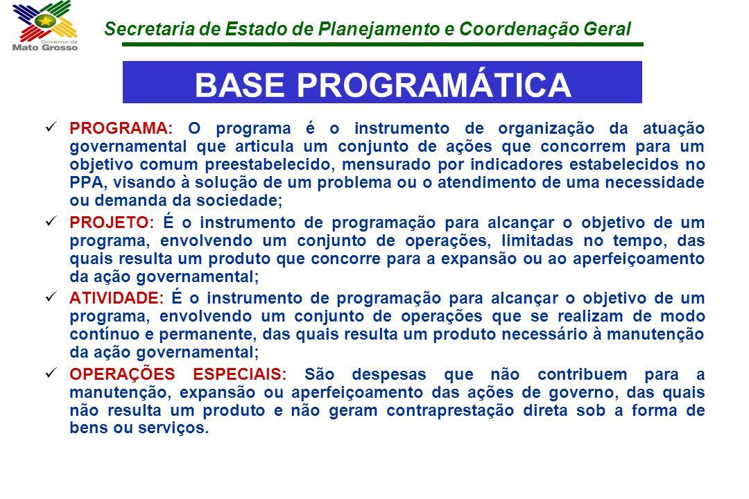 Secretaria de Estado de Planejamento e Coordenação Geral BASE PROGRAMÁTICA PROGRAMA: O programa é o instrumento de organização da atuação governamenta