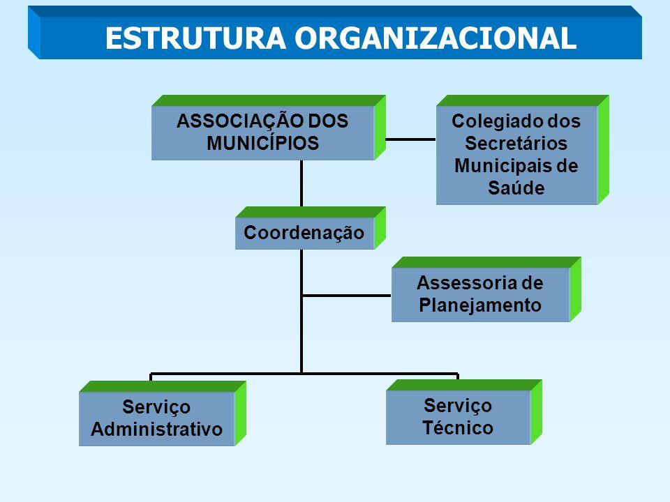 ESTRUTURA ORGANIZACIONAL ASSOCIAÇÃO DOS MUNICÍPIOS Coordenação Assessoria de Planejamento Colegiado dos Secretários Municipais de Saúde Serviço Técnico Serviço Administrativo