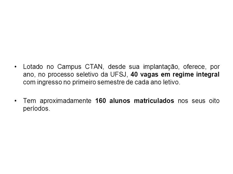 Lotado no Campus CTAN, desde sua implantação, oferece, por ano, no processo seletivo da UFSJ, 40 vagas em regime integral com ingresso no primeiro sem