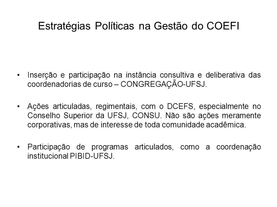 Estratégias Políticas na Gestão do COEFI Inserção e participação na instância consultiva e deliberativa das coordenadorias de curso – CONGREGAÇÃO-UFSJ