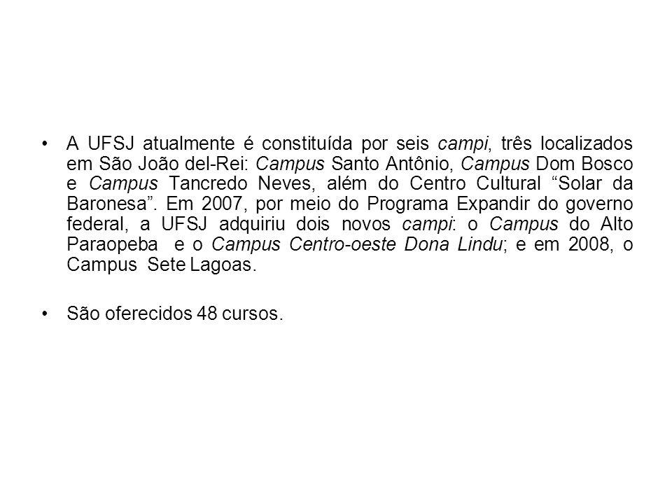 A UFSJ atualmente é constituída por seis campi, três localizados em São João del-Rei: Campus Santo Antônio, Campus Dom Bosco e Campus Tancredo Neves,