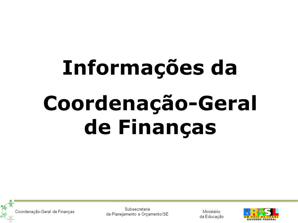 Ministério da Educação Subsecretaria de Planejamento e Orçamento/SE Coordenação-Geral de Finanças Informações da Coordenação-Geral de Finanças