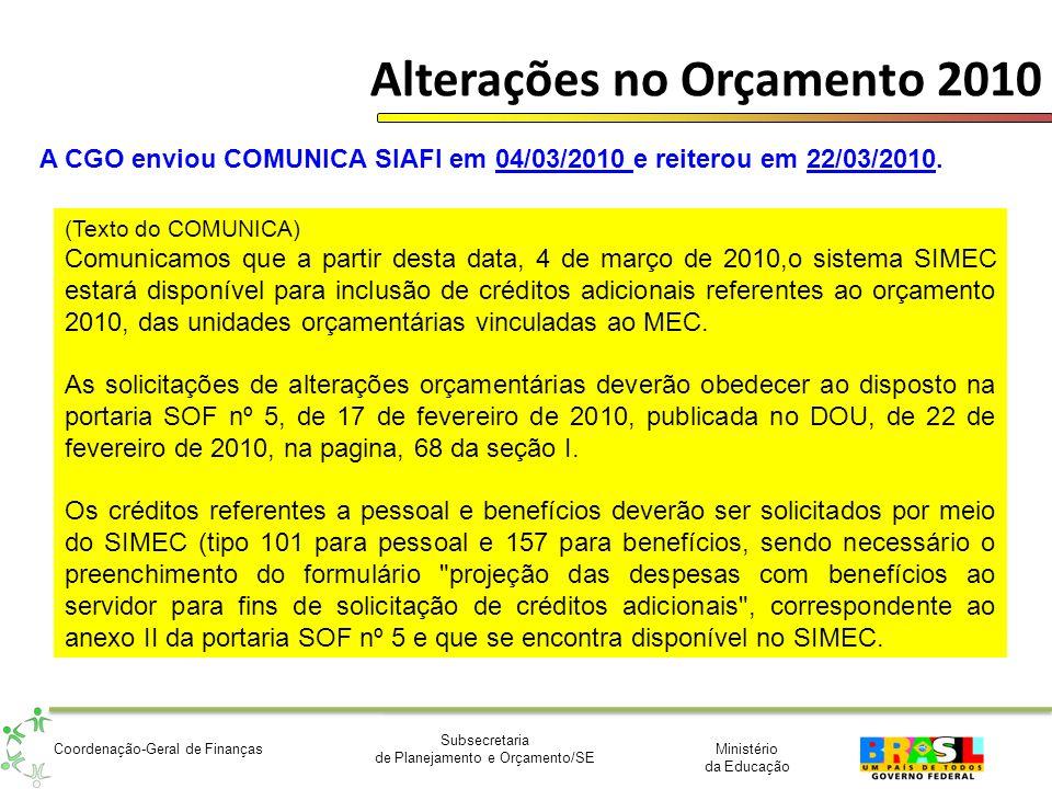 Ministério da Educação Subsecretaria de Planejamento e Orçamento/SE Coordenação-Geral de Finanças Alterações no Orçamento 2010 A CGO enviou COMUNICA S