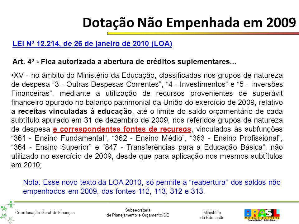 Ministério da Educação Subsecretaria de Planejamento e Orçamento/SE Coordenação-Geral de Finanças Dotação Não Empenhada em 2009 XV - no âmbito do Mini