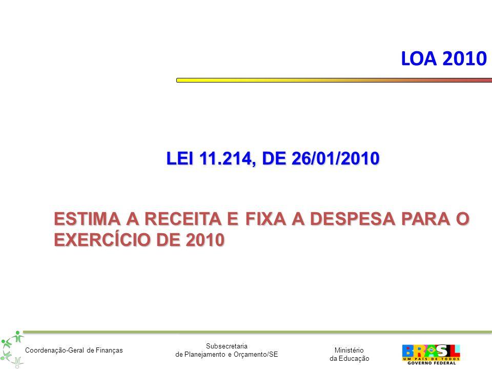 Ministério da Educação Subsecretaria de Planejamento e Orçamento/SE Coordenação-Geral de Finanças LOA 2010 LEI 11.214, DE 26/01/2010 ESTIMA A RECEITA