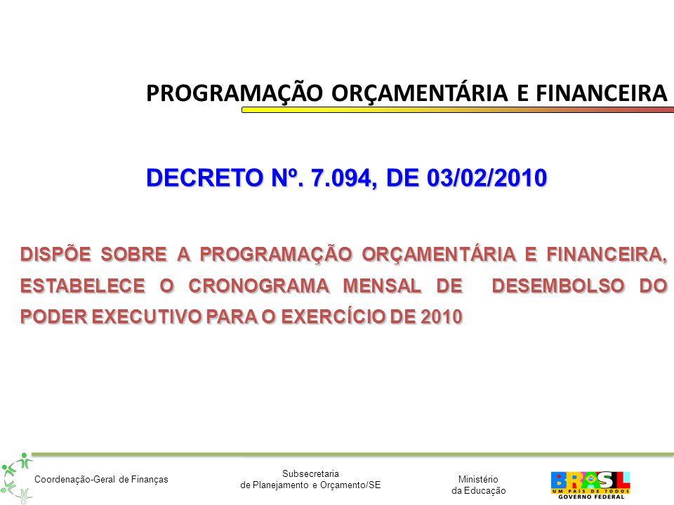 Ministério da Educação Subsecretaria de Planejamento e Orçamento/SE Coordenação-Geral de Finanças PROGRAMAÇÃO ORÇAMENTÁRIA E FINANCEIRA DECRETO Nº. 7.