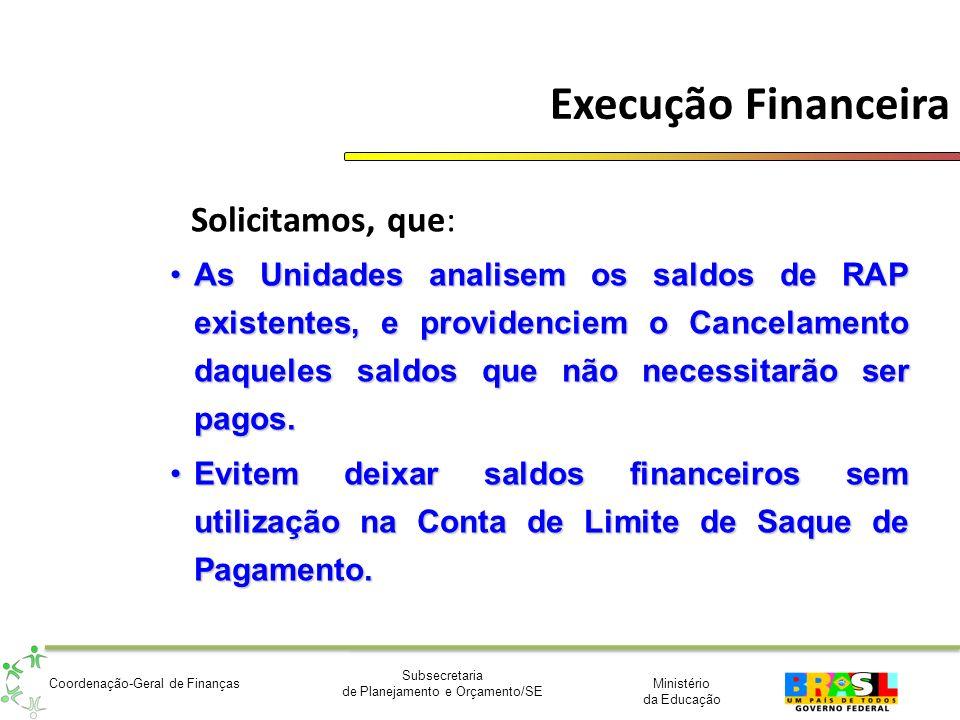 Ministério da Educação Subsecretaria de Planejamento e Orçamento/SE Coordenação-Geral de Finanças Execução Financeira Solicitamos, que: As Unidades an