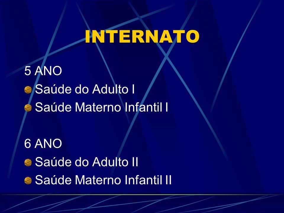 INTERNATO 5 ANO Saúde do Adulto I Saúde Materno Infantil I 6 ANO Saúde do Adulto II Saúde Materno Infantil II